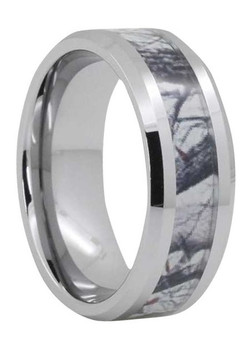 8 mm Mens Wedding Bands, Camo Tree Inlay Tungsten - O444C