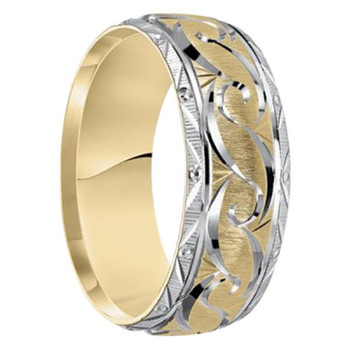 8mm Unique Mens Wedding Bands in 14kt. Two-tone Gold - Arabian-14