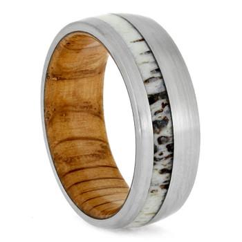 8 mm Antler Mens Wedding Bands, Oak Sleeve - DA702M
