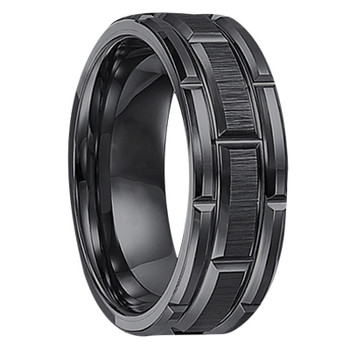 8 mm Black Tungsten Wedding Bands - U127BC