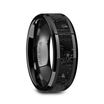 8 mm Black Ceramic Band with Lava Rock - V491TR