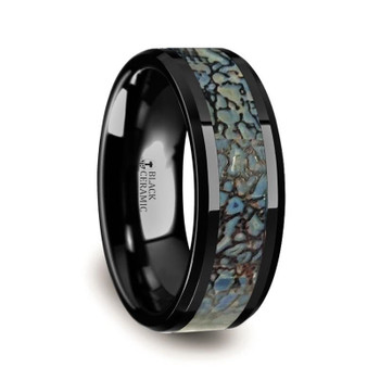 8 mm Black Ceramic Blue Dinosaur Bone Wedding Band - P314TR