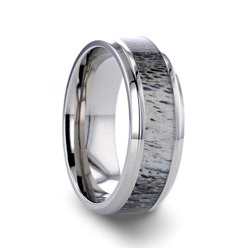 8 mm Titanium Deer Antler Wedding Band - B536TR