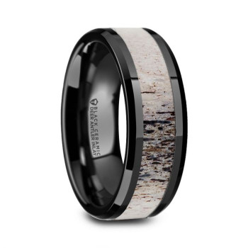 8 mm Black Ceramic Deer Antler Wedding Band - S539TR