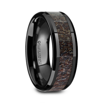 8 mm Black Ceramic Dark Deer Antler Band - T540TR