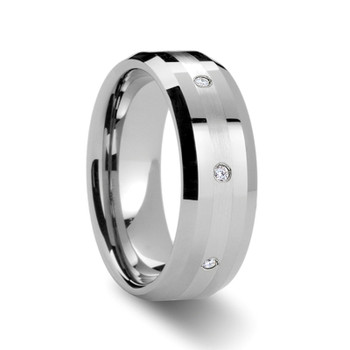 8 mm Tungsten with Platinum Inlay and .32 cwt Diamonds - N316TR
