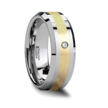8 mm Tungsten/Gold/Diamond Wedding Band - F549TR