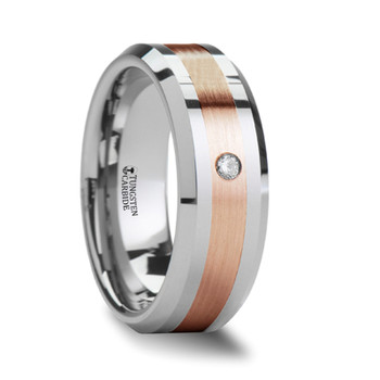 8 mm Tungsten/Gold/Diamond Wedding Band - F549TR