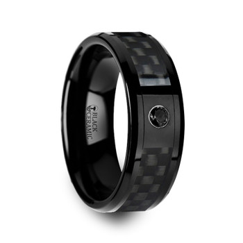 8 mm Black Ceramic Ring & Black Diamond - A059TR