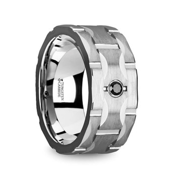 10 mm Tungsten Band with Black Diamond - S420TR