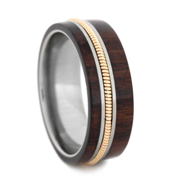 8 mm Unique Mens Wedding Bands - Wood Inlay/Guitar String - GS161M
