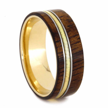 8 mm Yellow Gold Bands - Wood Inlay/Guitar String - YG614M