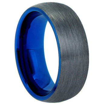 8 mm Brushed Tungsten Band with Blue Sleeve - G806C