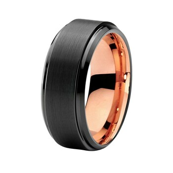 8 mm Mens Wedding Bands - Black Tungsten, with Rose Gold - J095RBC