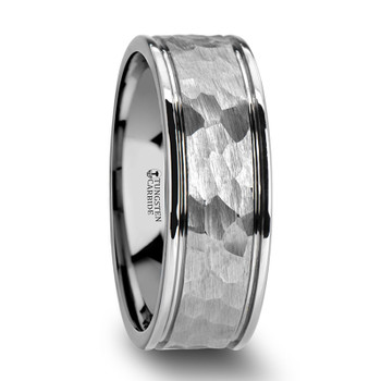 8 mm White Tungsten Band with Hammered Finish - T049TR