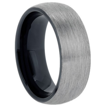 8 mm Brushed Tungsten Band with Black Sleeve - BG803WG