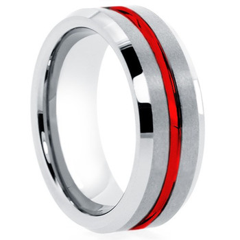 8 mm Tungsten Band with Red Inlay Design - RM507WG