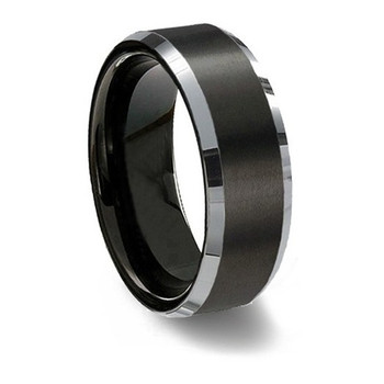 8 mm Mens Wedding Bands, Brushed Black Tungsten - P333C