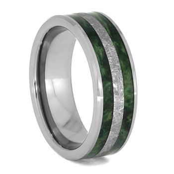 8 mm Meteorite and Green Box Elder in Tungsten - G956M