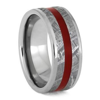 8 mm Titanium with Red Enamel Inlay/Gibeon Meteorite - RM868M