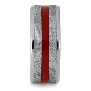 8 mm Titanium with Red Enamel Inlay/Gibeon Meteorite - RM868M