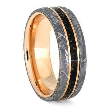7 mm Meteorite, 14 Kt Rose Gold with Black Stardust - RG887M