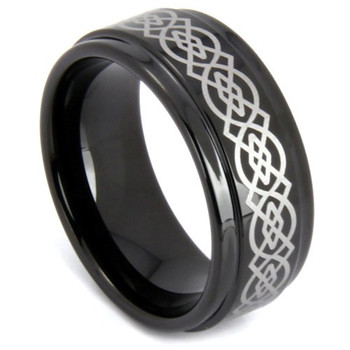 8 mm Black Tungsten Celtic Design - C229WG