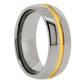 8 mm Domed Tungsten Band with Gold Resin Groove - GC703WG