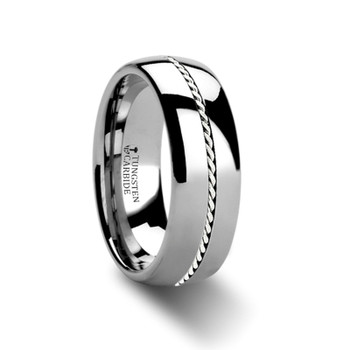 8 mm Tungsten with Platinum Braided Inlay Band - P368TR