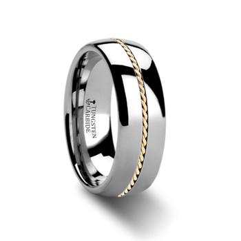 8 mm Tungsten/Gold Wedding Band - G367TR