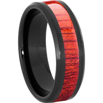 8 mm Wood Mens Wedding Bands/Bloodwood Inlay - BC121M-BW4