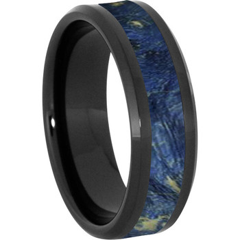 8 mm Wood Mens Wedding Bands/Blue Inlay - BC121M-BBE4