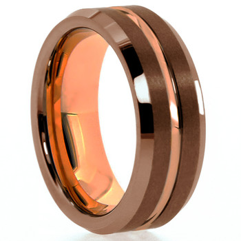 8 mm Brown Tungsten Band with Rose Gold Sleeve/Groove - BT808WG