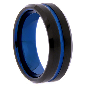8 mm Black/Blue Tungsten Wedding Bands - B809WG