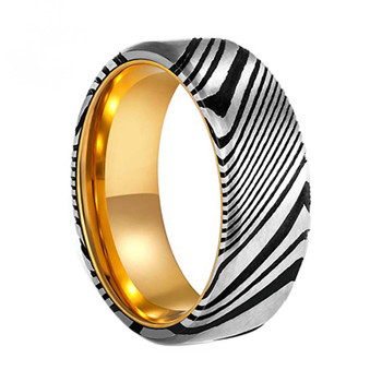 8 mm Damascus Steel and Gold Sleeve - DS013C