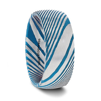 8 mm Domed Damascus Steel & Blue Pattern Wedding Bands - E256TR