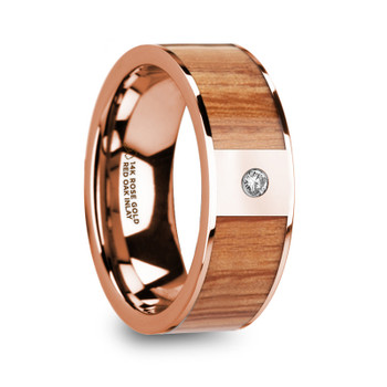 8 mm Red Oak Inlay in 14 Kt. Rose Gold and Diamond - RO666TR