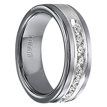 1/2 cwt Diamond Unique Mens Wedding Bands in Sterling Silver - Tungsten - A388C