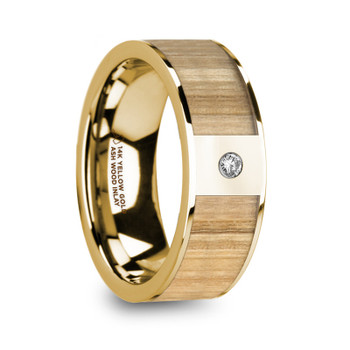 8 mm Ash Inlay in 14 Kt. Yellow Gold and Diamond - M004TR