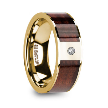 8 mm Redwood Inlay in 14 Kt. Yellow Gold and Diamond - PH749TR