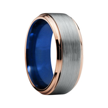 8 mm Mens Wedding Bands - Brushed Tungsten, with Blue/Gold - BRP369C