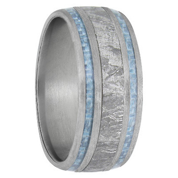 9 mm Meteorite, Mens Wedding Bands, Brushed Titanium - MB740FS