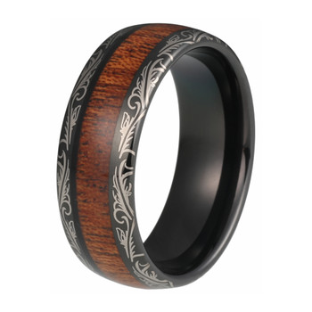8 mm KOA Wood Mens Wedding Bands - Laser Etched Black Tungsten - L530C