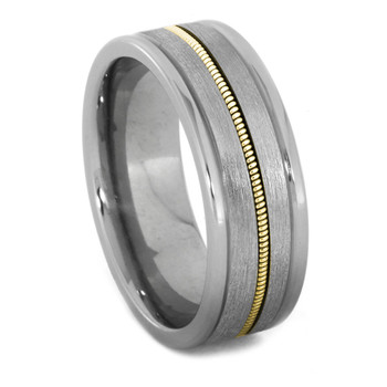 8 mm Unique Mens Wedding Bands - Guitar String/Titanium - GS024M