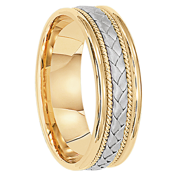 6 mm Two-Tone Gold Mens Wedding Bands in 14kt. Gold - Madrid 14
