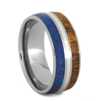 8 mm Titanium with Blue Opal, Zebrawood, 14 Kt Gold - PQ592M