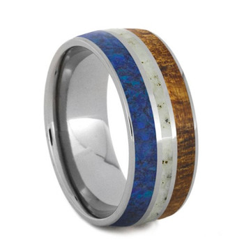 8.5 mm Titanium with Blue & White Opal, Zebrawood- PQ594M