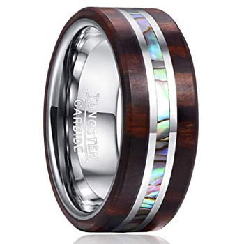 8 mm Tungsten with Mahogany Wood and Abalone Shell- A652A