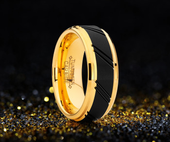 8 mm Black Tungsten/Yellow Gold Wedding Bands - YG127A