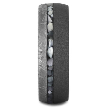 7 mm Meteorite with Mother of Pearl in Sandblasted Titanium - MP343M